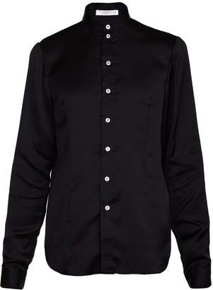 Jiri Kalfar Black Silk Satin Shirt With Band Collar