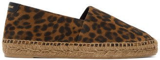 Saint Laurent Brown Suede Leopard Print Espadrilles