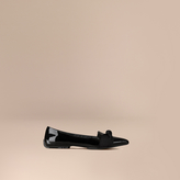 Burberry Grosgrain Bow Patent Leather Loafers