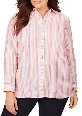 Foxcroft Plus Journey Easy Care Linen Coastal Striped Shirt