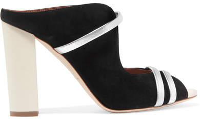 Malone Souliers Maureen 100 Metallic Leather-trimmed Suede Mules - Black