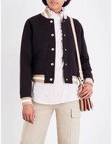 See by Chloe Ladies Carbon Striped Bohemian Varsity Wool-Blend Bomber Jacket