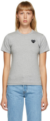 Comme des Garcons Grey and Black Heart Patch T-Shirt