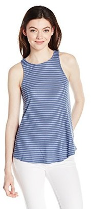 Derek Heart Women's Cut in Shoulder Stripe Taneck Top