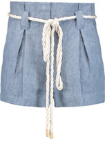 L'Agence Edie Pleated Linen Shorts