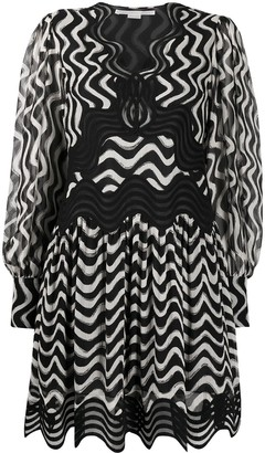 Stella McCartney Wave-Stripe Long-Sleeve Dress