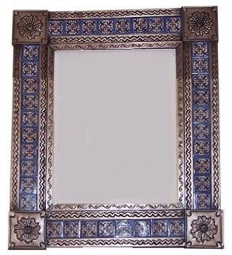 Fine Crafts & Imports Medium Brown Escudo Tile Talavera Tin Mirror