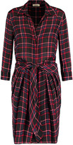 L'Agence Kendall checked tie-front silk-georgette shirt dress