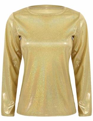 inlzdz Womens Shiny Metallic Holographic Long Sleeve Tops Casual Loose Shirt Party Disco Shirt Gold XL