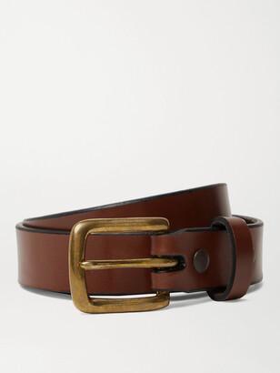 Sid Mashburn 2.5cm Bottle-Green Leather Belt