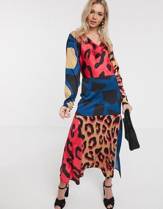 Liquorish satin slip dress in multi abstract animal print