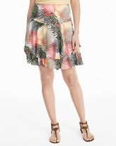 White House Black Market Soft Tiered Palm Print Skirt