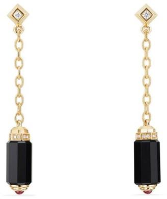 David Yurman Barrels Chain Drop Earrings with Gemstone & Diamonds in 18K Yellow Gold