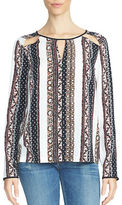 1 STATE Printed Shoulder Cutout Blouse