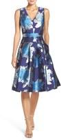 Eliza J Petite Women's Metallic Jacquard Fit & Flare Dress