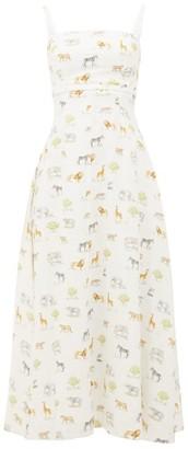 Emilia Wickstead Freya Safari-print Cotton Dress - Womens - Cream Print