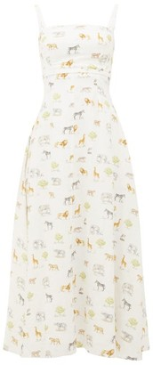 Emilia Wickstead Freya Square-neck Safari-print Linen Midi Dress - Womens - Cream Print