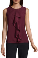Liz Claiborne Short Sleeve Draped Neck Woven Blouse-Talls