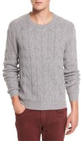 Neiman Marcus Cashmere Cable-Knit Sweater, Heather Gray