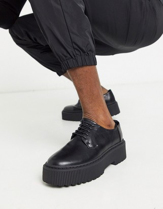 Asos Design DESIGN lace up shoes in black faux leather with chunky sole