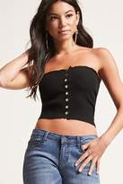 Forever 21 Ribbed Snap-Button Tube Top
