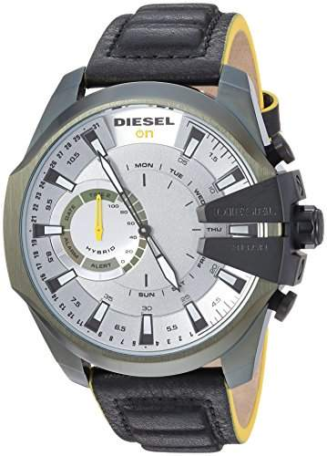 Diesel On Men's Mega Chief Olive IP and Black Leather Hybrid Smartwatch DZT1012