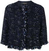 Les Copains cropped instarsia jacket - women - Nylon/Polyester/Virgin Wool - 40