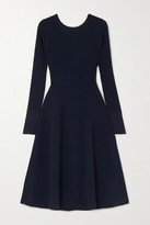 Victoria Beckham Tie-detailed Ribbed-knit Midi Dress