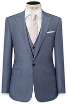 John Lewis Woven In Italy Sharkskin Half Canvas Tailored Suit Jacket, Ice Blue