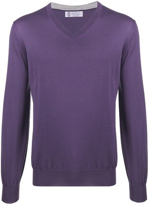 Brunello Cucinelli rib-trimmed V-neck jumper