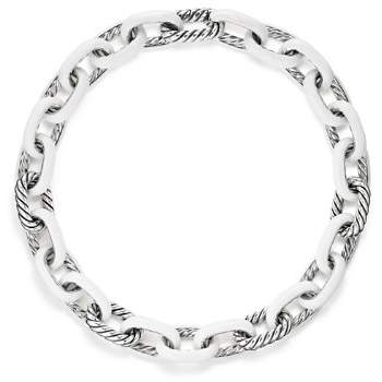 David Yurman Madison Chain Enamel Necklace in White