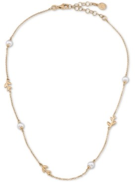 """Majorica Gold-Plated Sterling Silver Imitation Pearl & Vine Collar Necklace, 15"""" + 2"""" extender"""