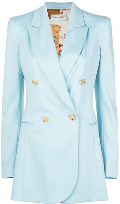 Oscar de la Renta Welt Pockets Double-Breasted Blazer