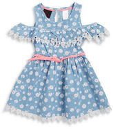Little Lass Girls 2-6x Little Girls Floral Chambray Dress