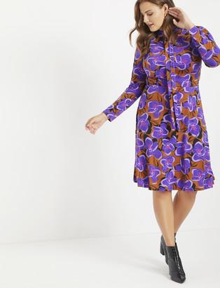 ELOQUII Tie Neck Midi Dress