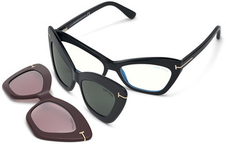 Tom Ford Butterfly Optical Frames w/ Two Magnetic Sunglasses Clips