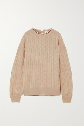 Brunello Cucinelli Bead-embellished Cable-knit Cashmere Sweater - Beige