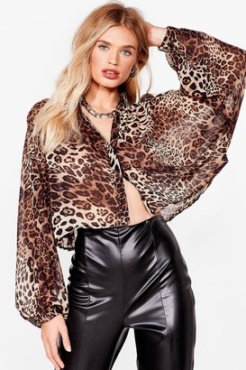 Nasty Gal Womens Get Chiffon With It Leopard Cropped Blouse - Brown