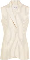 Pallas Satin-trimmed Grain De Poudre Wool Vest - Cream