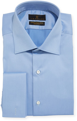 Ike Behar Men's Marcus French-Cuff Twill Dress Shirt, Blue