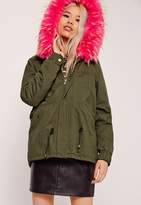 Missguided Pink Faux Fur Hooded Parka Coat
