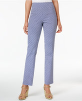 Charter Club Petite Cambridge Printed Pull-On Slim-Leg Pants, Created for Macy's
