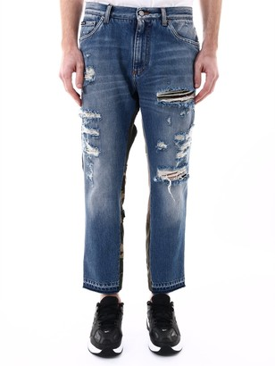 Dolce & Gabbana Contrasting Panelled Distressed Jeans