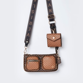 River Island Womens Brown RI double pouchette cross body bag