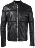 Dirk Bikkembergs mesh stripe jacket - men - Leather/Viscose - 48