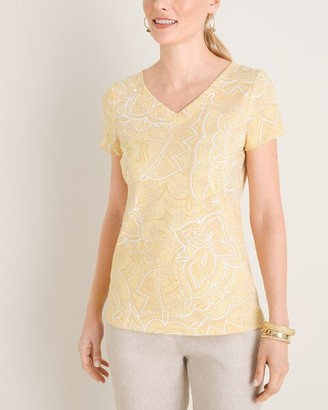 Chico's Paisley Cotton V-Neck Tee