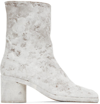Maison Margiela Brown and White Painted Mid Heel Tabi Boots