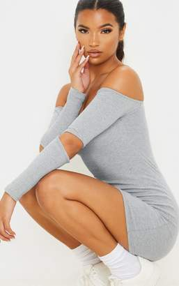 PrettyLittleThing Grey Rib Long Cut Out Detail Sleeve Bardot Bodycon Dress