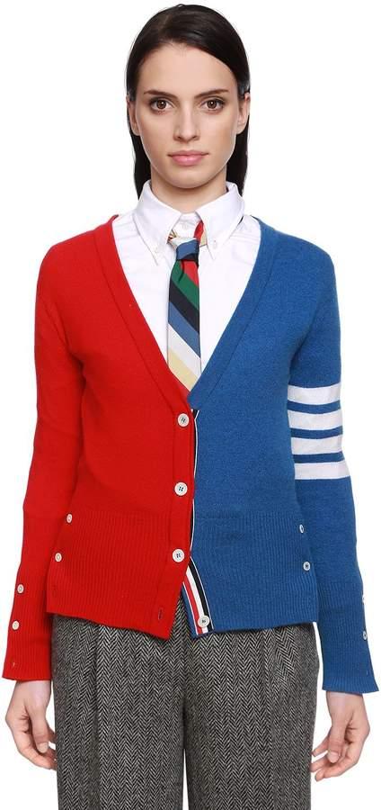 Thom Browne Color Block Cashmere Knit Cardigan