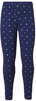 John Lewis Girls' Star Print Leggings, Navy